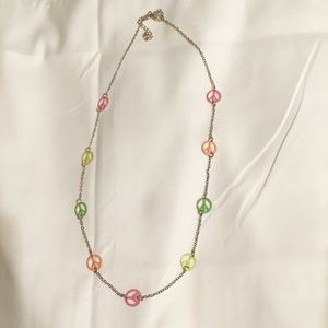 Jewelry - 🎁 Silver Multicolor Rainbow Peace Sign Necklace